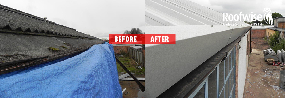 Asbestos roofing service before and after photos