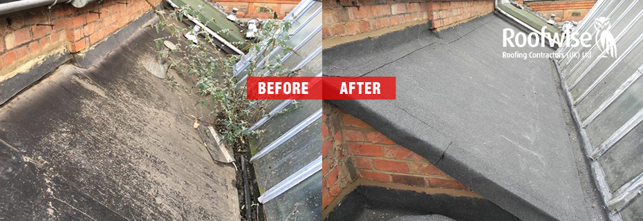 Before and afetr photo of felt roof replacement