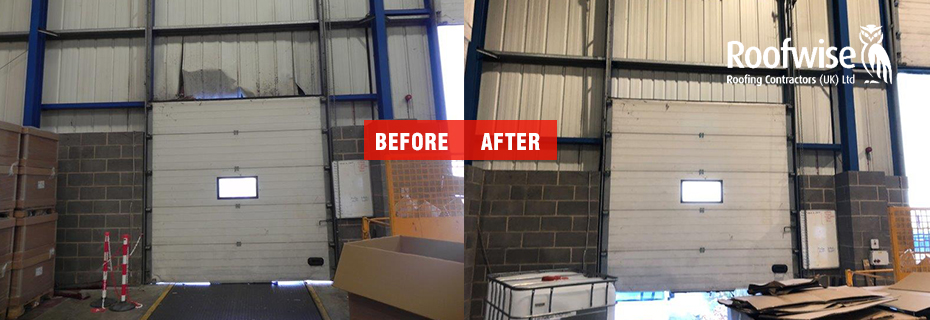 Before and after wall cladding repair