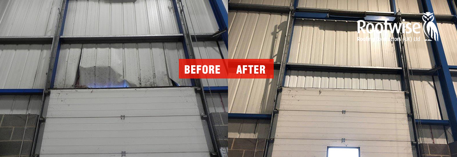 Profiled steel sheeting installation at industrial unit