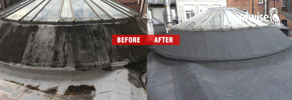 Before and after photo of commercial felf roofing project in Leicester City