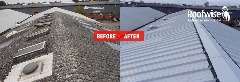 Asbestos Re-roof with Metal Sheeting in Leicester